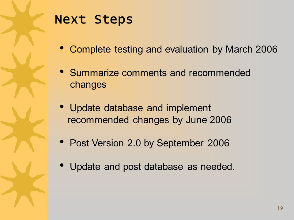 19 Next Steps Complete testing and evaluation by March 2006 Summarize comments and recommended changes Update database and implement recommended changes by June 2006 Post Version 2.0 by September 2006 Update and post database as needed.