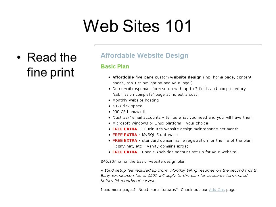 Web Sites 101 Read the fine print
