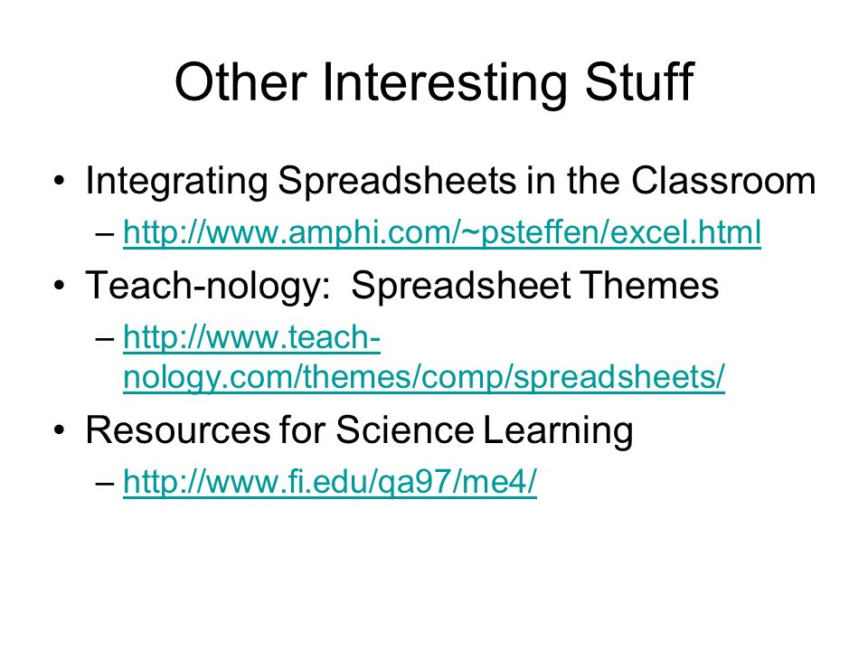 Other Interesting Stuff Integrating Spreadsheets in the Classroom –  Teach-nology: Spreadsheet Themes –  nology.com/themes/comp/spreadsheets/  nology.com/themes/comp/spreadsheets/ Resources for Science Learning –
