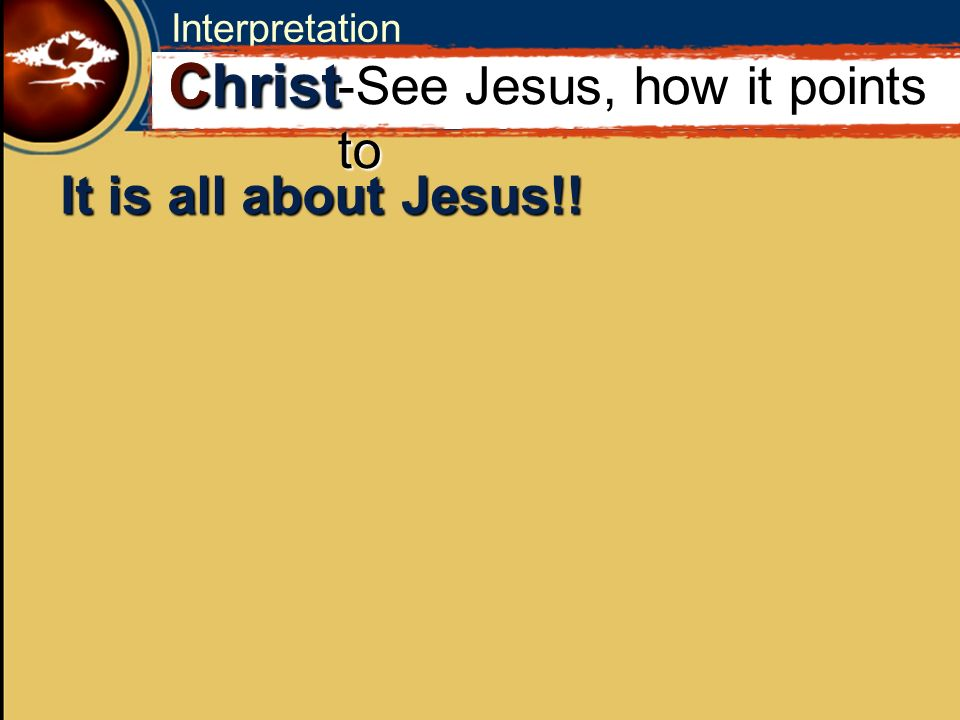 Interpretation It is all about Jesus!! C Christ -See Jesus, how it points to