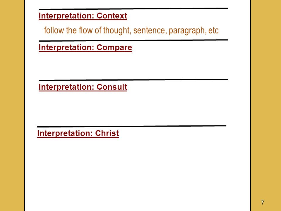 7 Interpretation: Context Interpretation: Compare Interpretation: Consult Interpretation: Christ follow the flow of thought, sentence, paragraph, etc