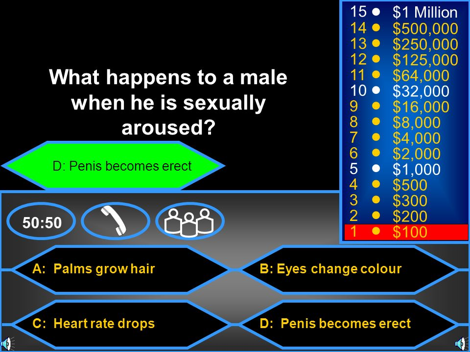 A: Palms grow hair C: Heart rate drops B: Eyes change colour D: Penis becomes erect 50: $1 Million $500,000 $250,000 $125,000 $64,000 $32,000 $16,000 $8,000 $4,000 $2,000 $1,000 $500 $300 $200 $100 What happens to a male when he is sexually aroused.