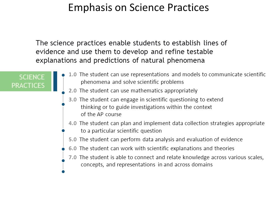 Emphasis on Science Practices 1.0 The student can use representations and models to communicate scientific phenomena and solve scientific problems 2.0 The student can use mathematics appropriately 3.0 The student can engage in scientific questioning to extend thinking or to guide investigations within the context of the AP course 4.0 The student can plan and implement data collection strategies appropriate to a particular scientific question 5.0 The student can perform data analysis and evaluation of evidence 6.0 The student can work with scientific explanations and theories 7.0 The student is able to connect and relate knowledge across various scales, concepts, and representations in and across domains The science practices enable students to establish lines of evidence and use them to develop and refine testable explanations and predictions of natural phenomena SCIENCE PRACTICES