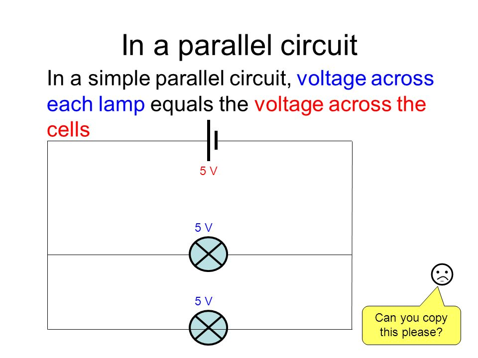 In a parallel circuit In a simple parallel circuit, voltage across each lamp equals the voltage across the cells 5 V Can you copy this please