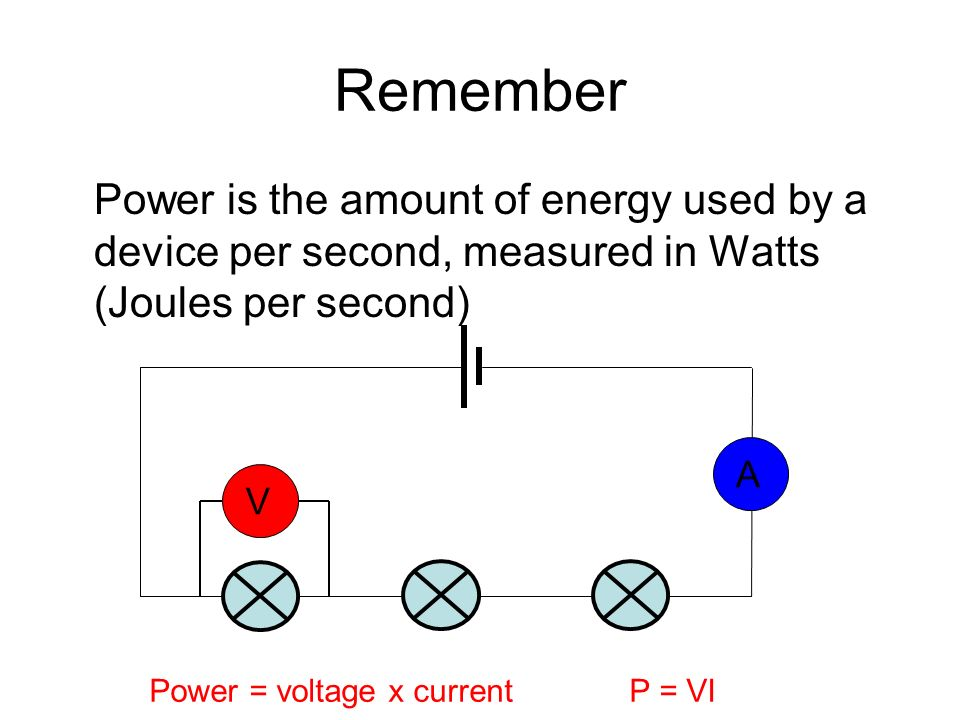 Remember Power is the amount of energy used by a device per second, measured in Watts (Joules per second) VA Power = voltage x currentP = VI