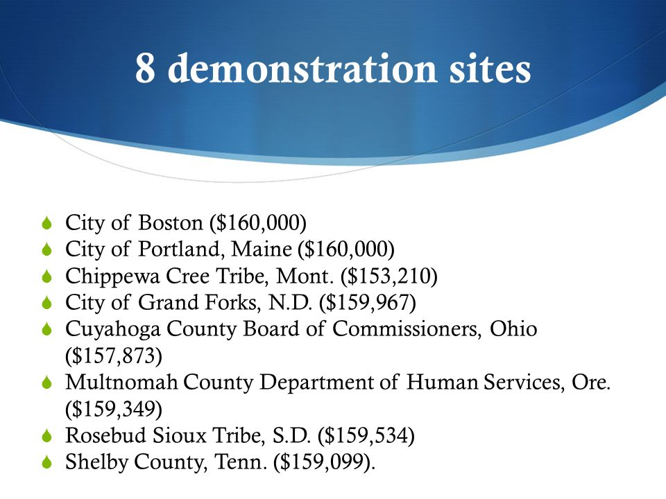 8 demonstration sites City of Boston ($160,000) City of Portland, Maine ($160,000) Chippewa Cree Tribe, Mont.