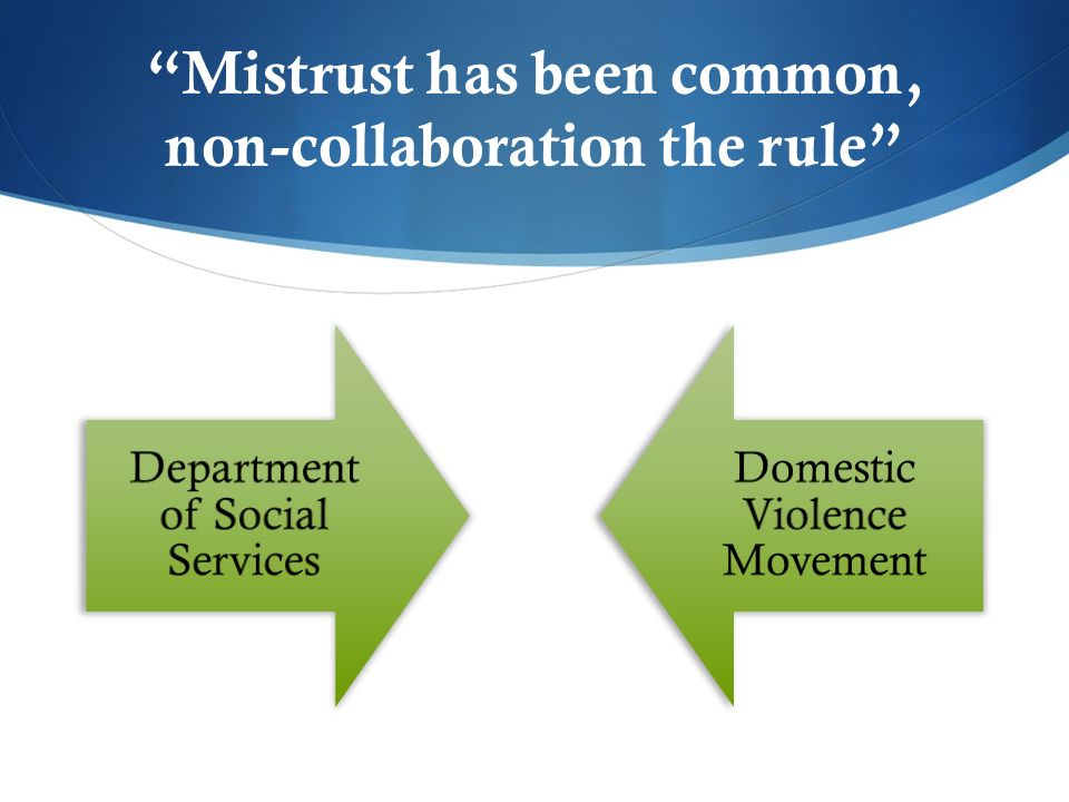 Mistrust has been common, non-collaboration the rule Department of Social Services Domestic Violence Movement