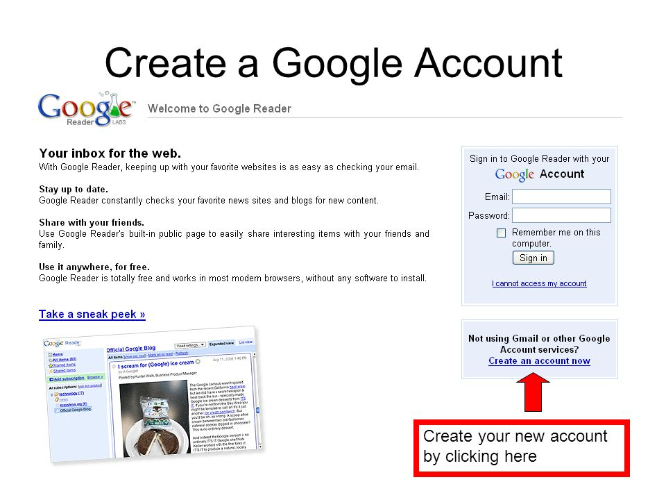 Create a Google Account Create your new account by clicking here