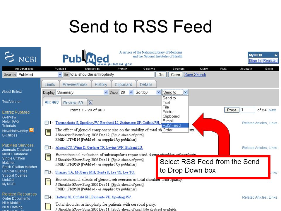 Send to RSS Feed Select RSS Feed from the Send to Drop Down box