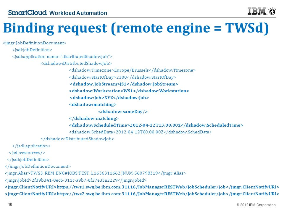 © 2012 IBM Corporation 10 Workload Automation Binding request (remote engine = TWSd) Europe/Brussels 2300 JS1 WS1 XYZ T13:00:00Z T00:00:00Z TWS3_REM_ENG#JOBS.TEST_L JNUM f39b341-0ec6-311c-a9b7-6f27e33a