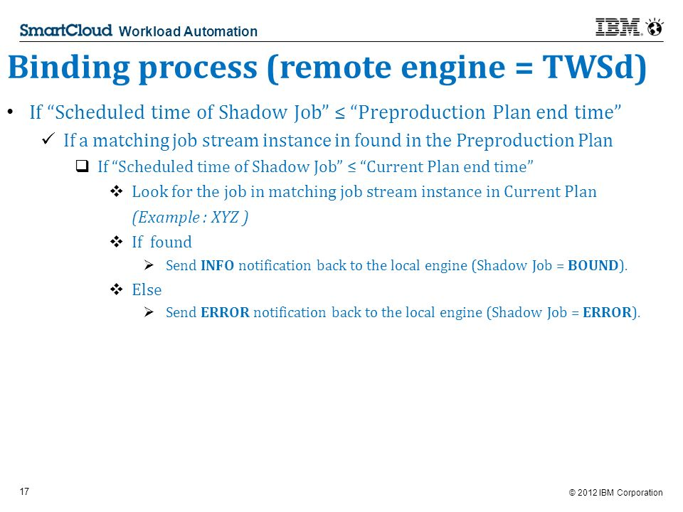 © 2012 IBM Corporation 17 Workload Automation Binding process (remote engine = TWSd) If Scheduled time of Shadow Job Preproduction Plan end time If a matching job stream instance in found in the Preproduction Plan If Scheduled time of Shadow Job Current Plan end time Look for the job in matching job stream instance in Current Plan (Example : XYZ ) If found Send INFO notification back to the local engine (Shadow Job = BOUND).