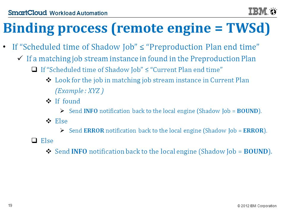 © 2012 IBM Corporation 19 Workload Automation Binding process (remote engine = TWSd) If Scheduled time of Shadow Job Preproduction Plan end time If a matching job stream instance in found in the Preproduction Plan If Scheduled time of Shadow Job Current Plan end time Look for the job in matching job stream instance in Current Plan (Example : XYZ ) If found Send INFO notification back to the local engine (Shadow Job = BOUND).