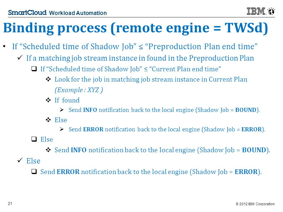© 2012 IBM Corporation 21 Workload Automation Binding process (remote engine = TWSd) If Scheduled time of Shadow Job Preproduction Plan end time If a matching job stream instance in found in the Preproduction Plan If Scheduled time of Shadow Job Current Plan end time Look for the job in matching job stream instance in Current Plan (Example : XYZ ) If found Send INFO notification back to the local engine (Shadow Job = BOUND).