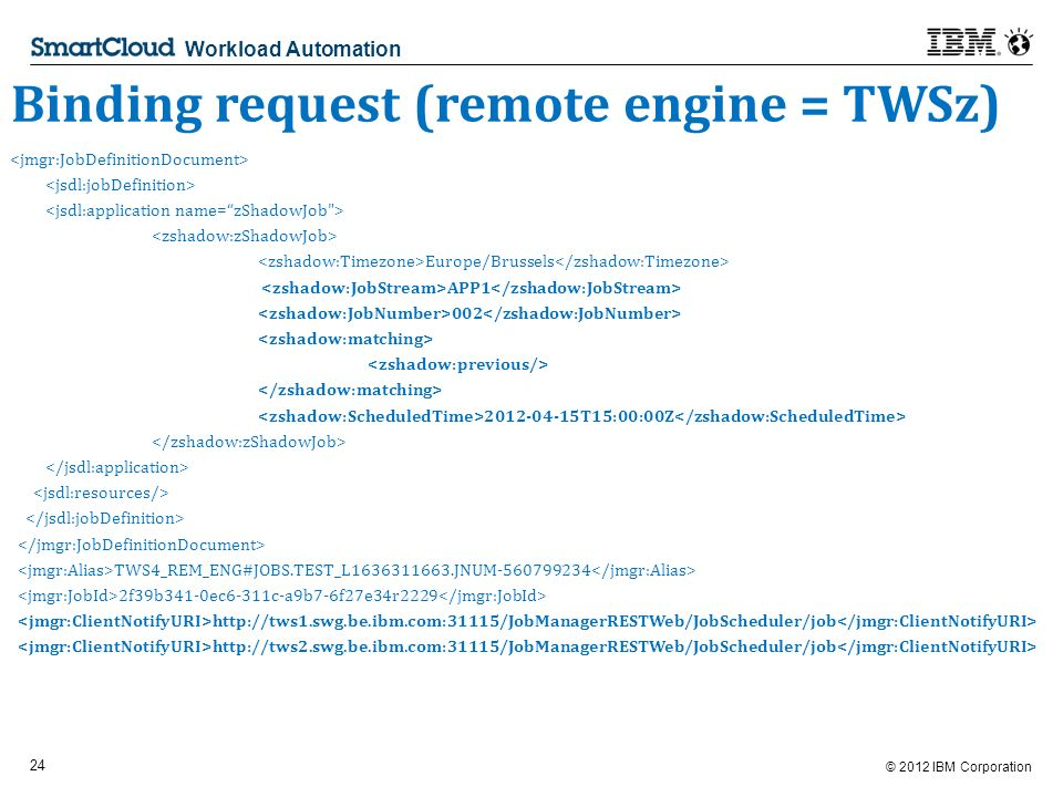 © 2012 IBM Corporation 24 Workload Automation Binding request (remote engine = TWSz) Europe/Brussels APP T15:00:00Z TWS4_REM_ENG#JOBS.TEST_L JNUM f39b341-0ec6-311c-a9b7-6f27e34r