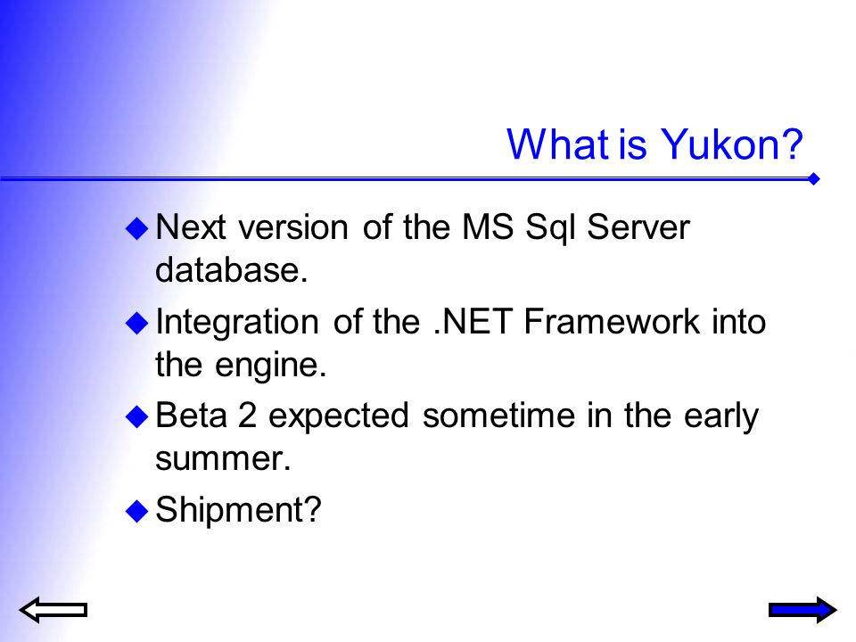 What is Yukon. Next version of the MS Sql Server database.