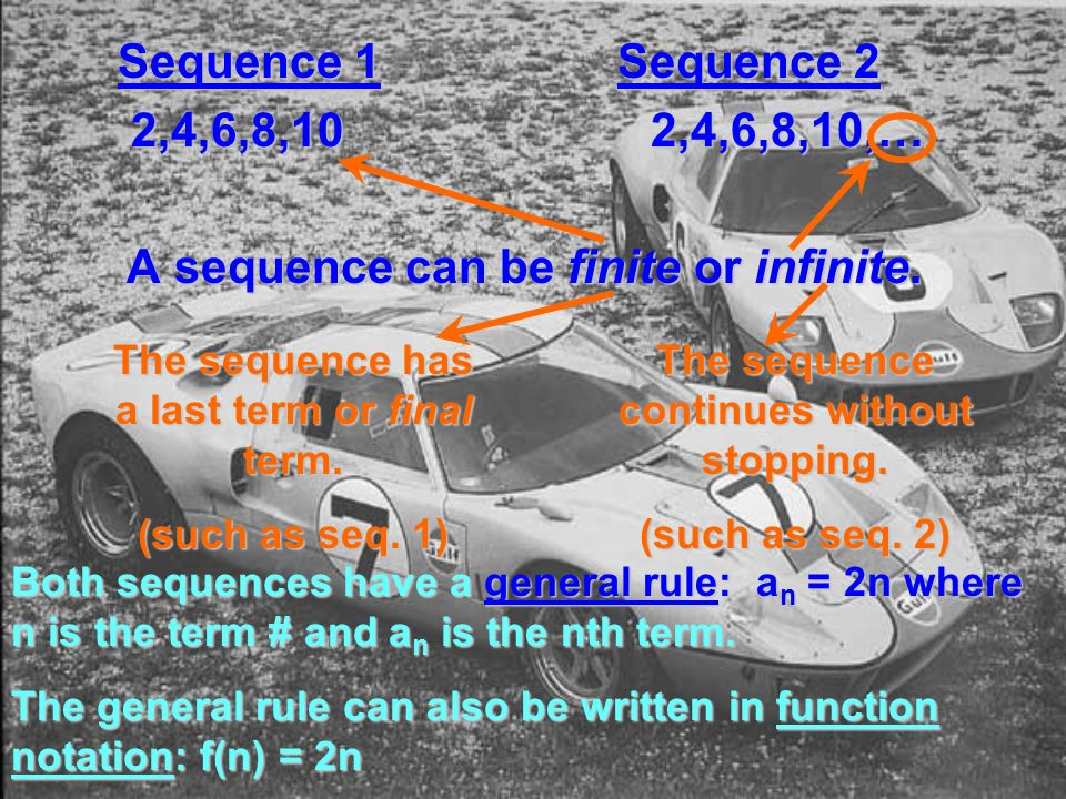 Sequence 1 Sequence 2 2,4,6,8,102,4,6,8,10,… 2,4,6,8,102,4,6,8,10,… A sequence can be finite or infinite.