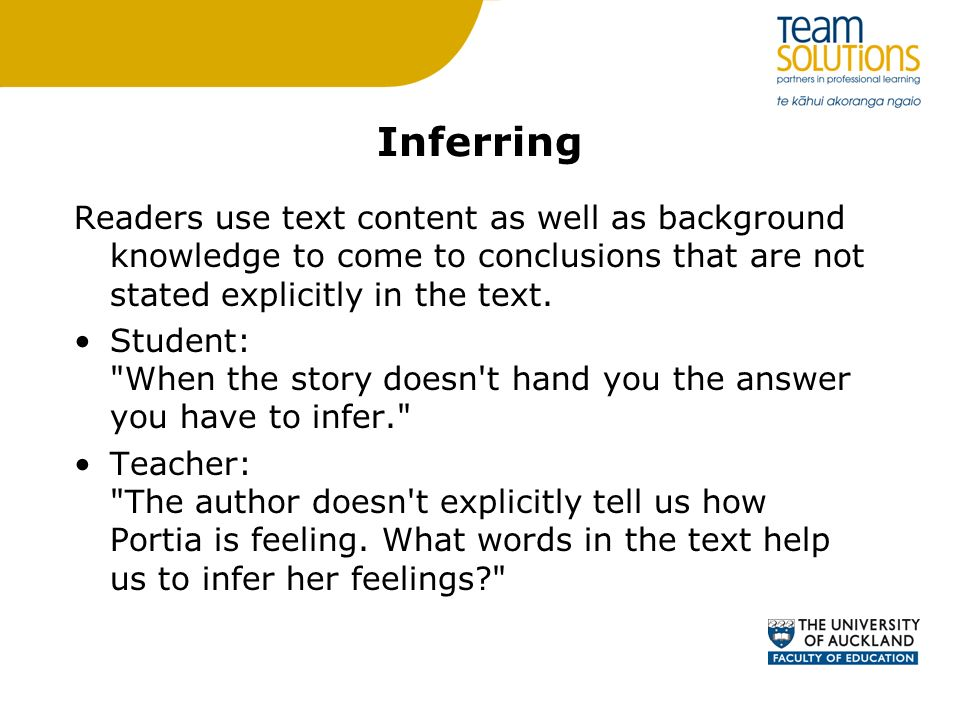 Inferring Readers use text content as well as background knowledge to come to conclusions that are not stated explicitly in the text.
