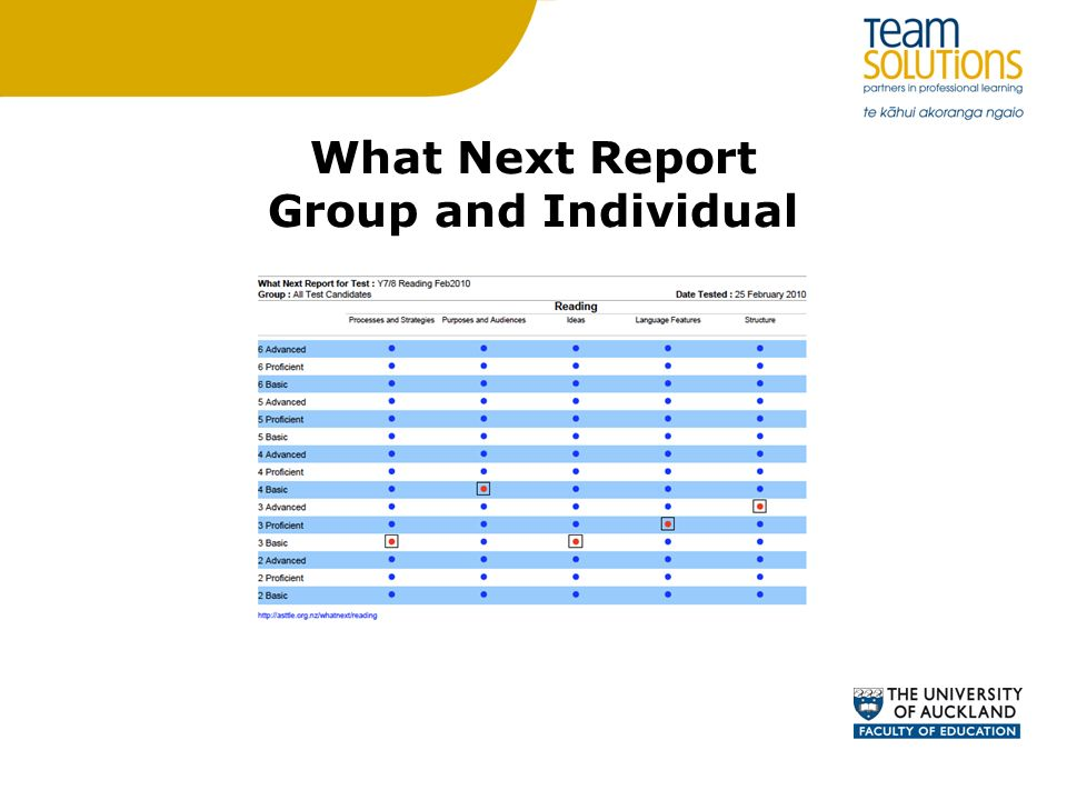 What Next Report Group and Individual