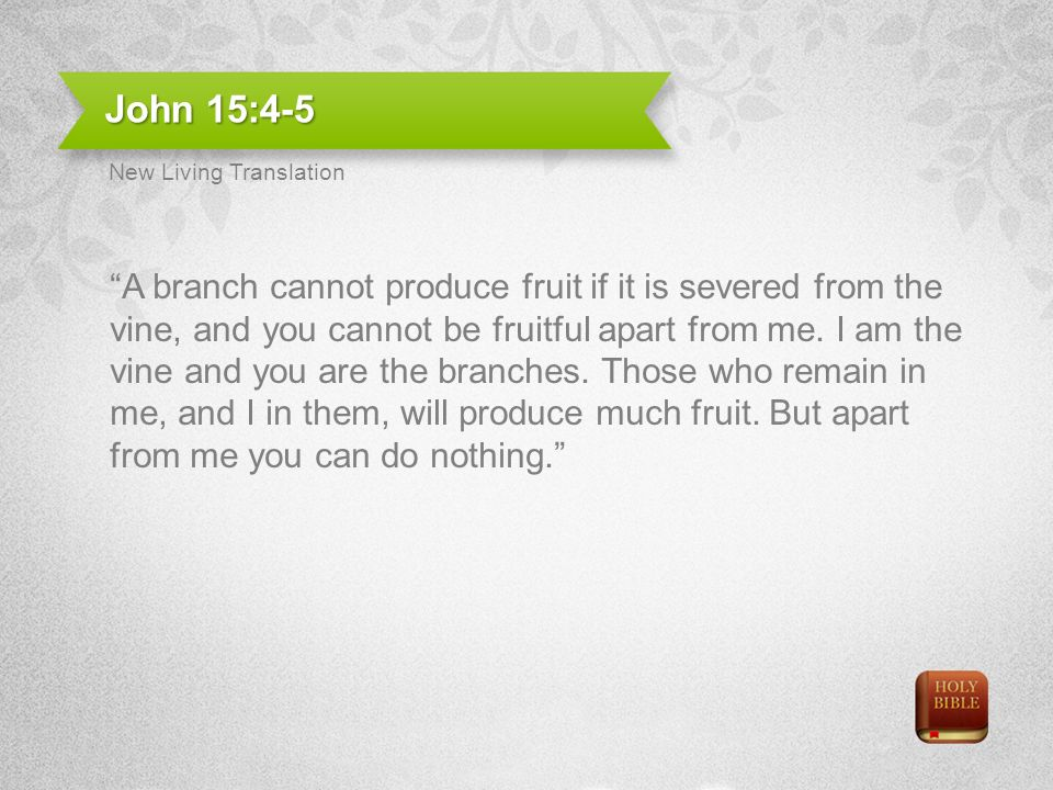 John 15:4-5 A branch cannot produce fruit if it is severed from the vine, and you cannot be fruitful apart from me.
