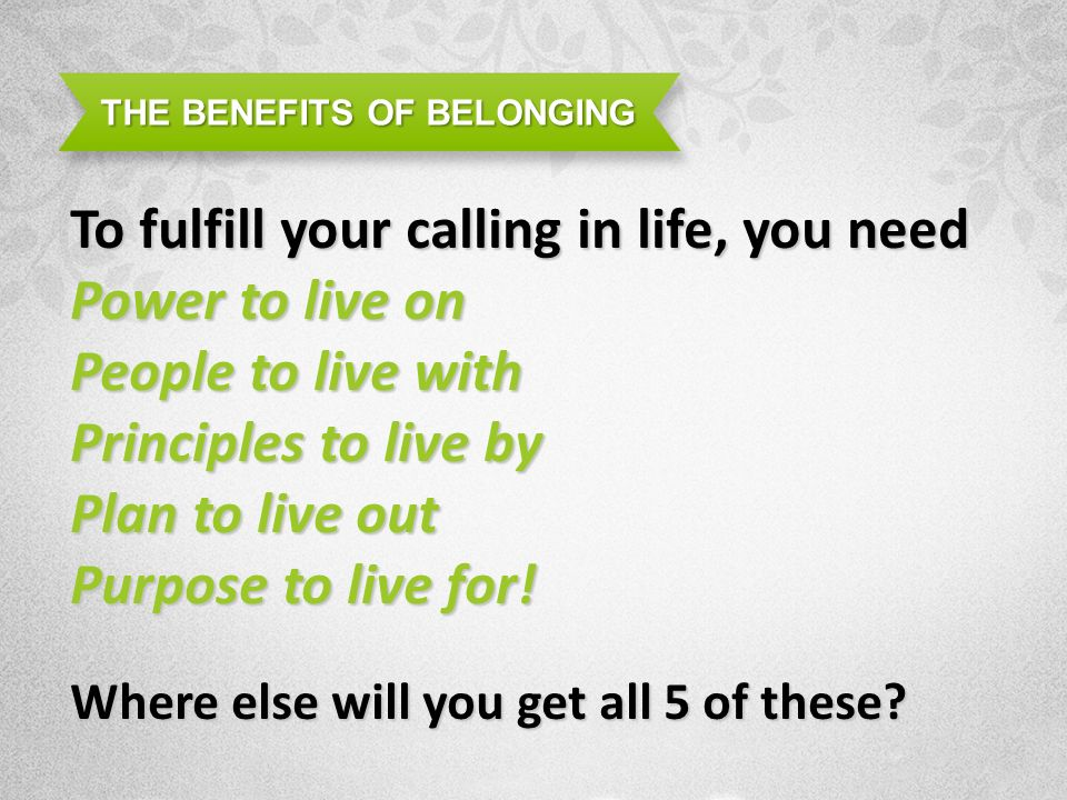 THE BENEFITS OF BELONGING To fulfill your calling in life, you need Power to live on People to live with Principles to live by Plan to live out Purpose to live for.