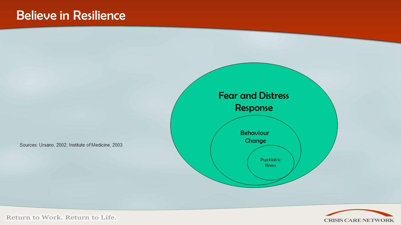 | © 2005 Crisis Care Network All Rights Reserved Sources: Ursano, 2002; Institute of Medicine, 2003 Believe in Resilience Fear and Distress Response Behaviour Change Psychiatric Illness