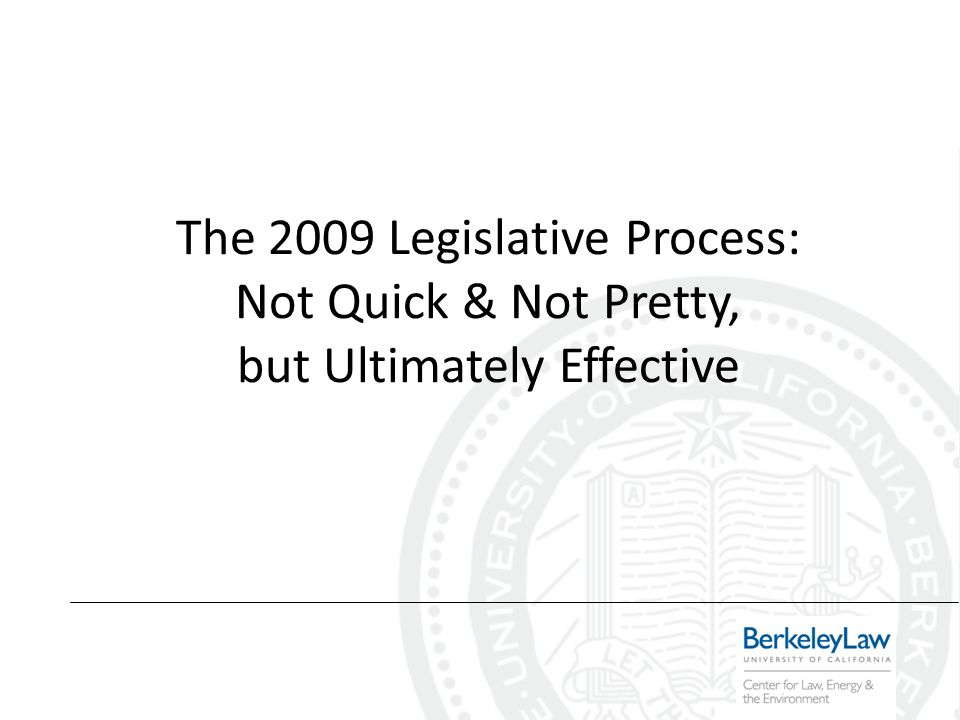 The 2009 Legislative Process: Not Quick & Not Pretty, but Ultimately Effective