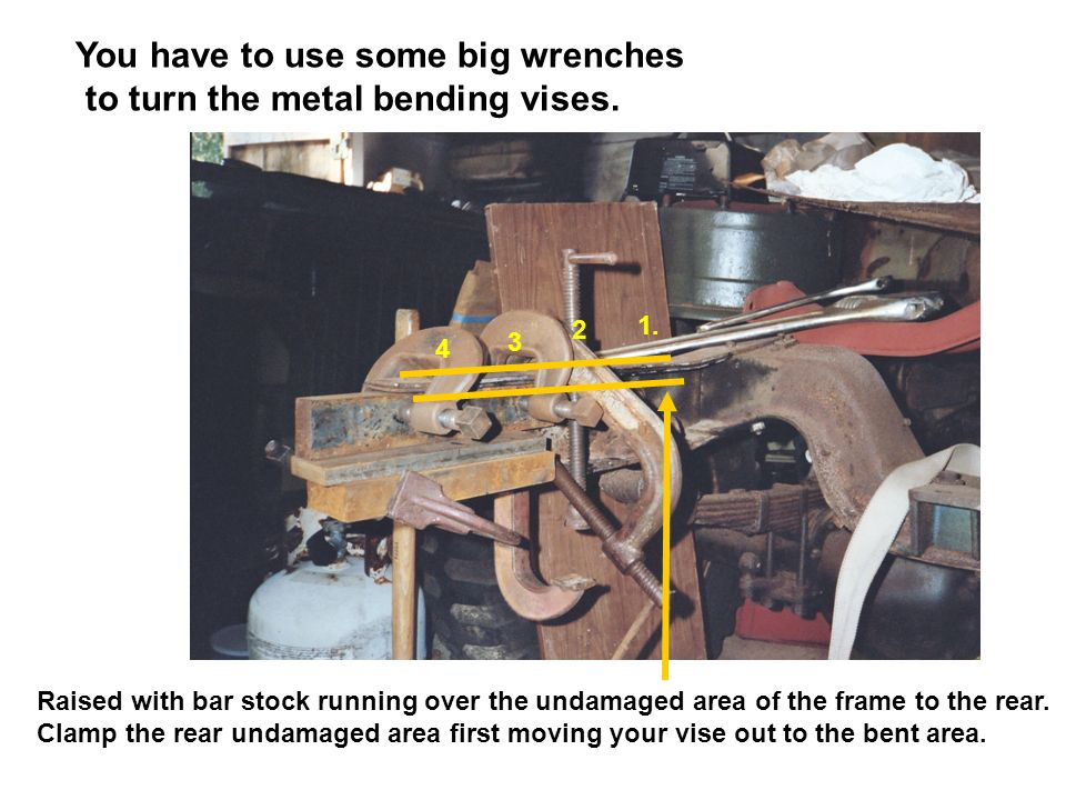 You have to use some big wrenches to turn the metal bending vises.