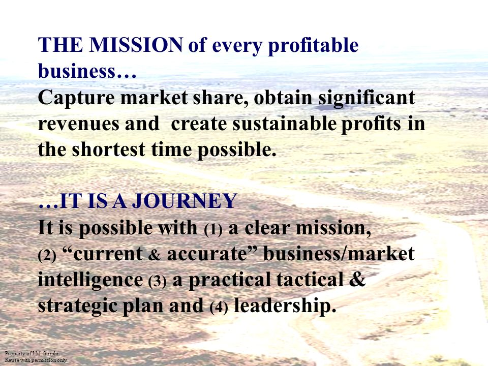 19 THE MISSION of every profitable business… Capture market share, obtain significant revenues and create sustainable profits in the shortest time possible.