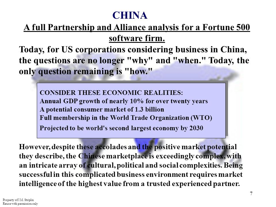 7 CHINA A full Partnership and Alliance analysis for a Fortune 500 software firm.