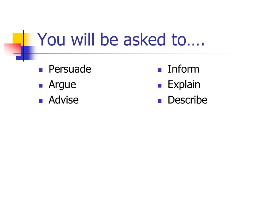 You will be asked to…. Persuade Argue Advise Inform Explain Describe