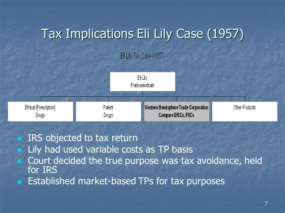 Tax Implications Eli Lily Case (1957) IRS objected to tax return Lily had used variable costs as TP basis Court decided the true purpose was tax avoidance, held for IRS Established market-based TPs for tax purposes 7