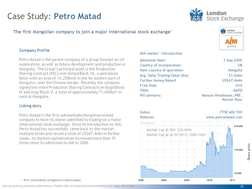23 Case Study: Petro Matad Company Profile Petro Matad is the parent company of a group focused on oil exploration, as well as future development and production in Mongolia.