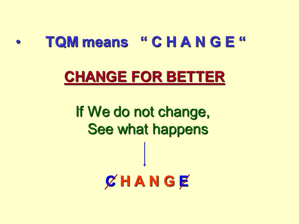 TQM means C H A N G E CHANGE FOR BETTER If We do not change, See what happens C H A N G ETQM means C H A N G E CHANGE FOR BETTER If We do not change, See what happens C H A N G E