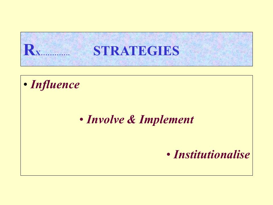 R X…………. STRATEGIES Influence Involve & Implement Institutionalise