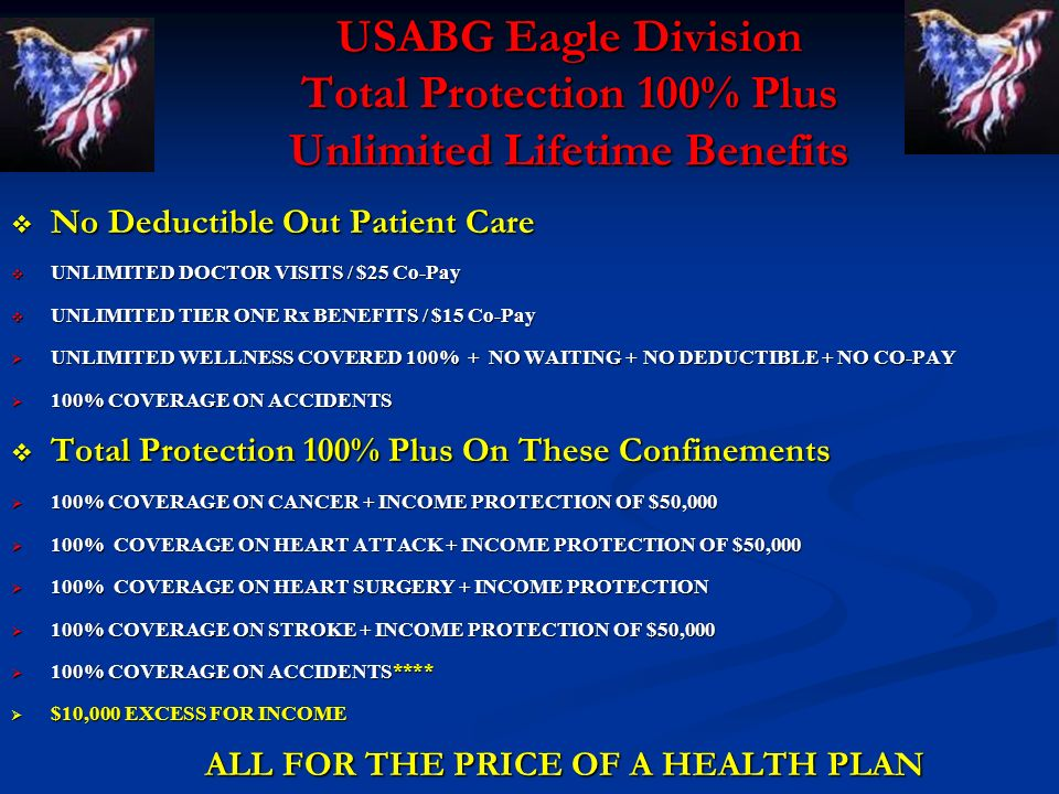 USABG Eagle Division Total Protection 100% Plus Unlimited Lifetime Benefits No Deductible Out Patient Care No Deductible Out Patient Care UNLIMITED DOCTOR VISITS / $25 Co-Pay UNLIMITED DOCTOR VISITS / $25 Co-Pay UNLIMITED TIER ONE Rx BENEFITS / $15 Co-Pay UNLIMITED TIER ONE Rx BENEFITS / $15 Co-Pay UNLIMITED WELLNESS COVERED 100% + NO WAITING + NO DEDUCTIBLE + NO CO-PAY UNLIMITED WELLNESS COVERED 100% + NO WAITING + NO DEDUCTIBLE + NO CO-PAY 100% COVERAGE ON ACCIDENTS 100% COVERAGE ON ACCIDENTS Total Protection 100% Plus On These Confinements Total Protection 100% Plus On These Confinements 100% COVERAGE ON CANCER + INCOME PROTECTION OF $50,000 100% COVERAGE ON CANCER + INCOME PROTECTION OF $50,000 100% COVERAGE ON HEART ATTACK + INCOME PROTECTION OF $50,000 100% COVERAGE ON HEART ATTACK + INCOME PROTECTION OF $50,000 100% COVERAGE ON HEART SURGERY + INCOME PROTECTION 100% COVERAGE ON HEART SURGERY + INCOME PROTECTION 100% COVERAGE ON STROKE + INCOME PROTECTION OF $50,000 100% COVERAGE ON STROKE + INCOME PROTECTION OF $50,000 100% COVERAGE ON ACCIDENTS**** 100% COVERAGE ON ACCIDENTS**** $10,000 EXCESS FOR INCOME $10,000 EXCESS FOR INCOME ALL FOR THE PRICE OF A HEALTH PLAN ALL FOR THE PRICE OF A HEALTH PLAN