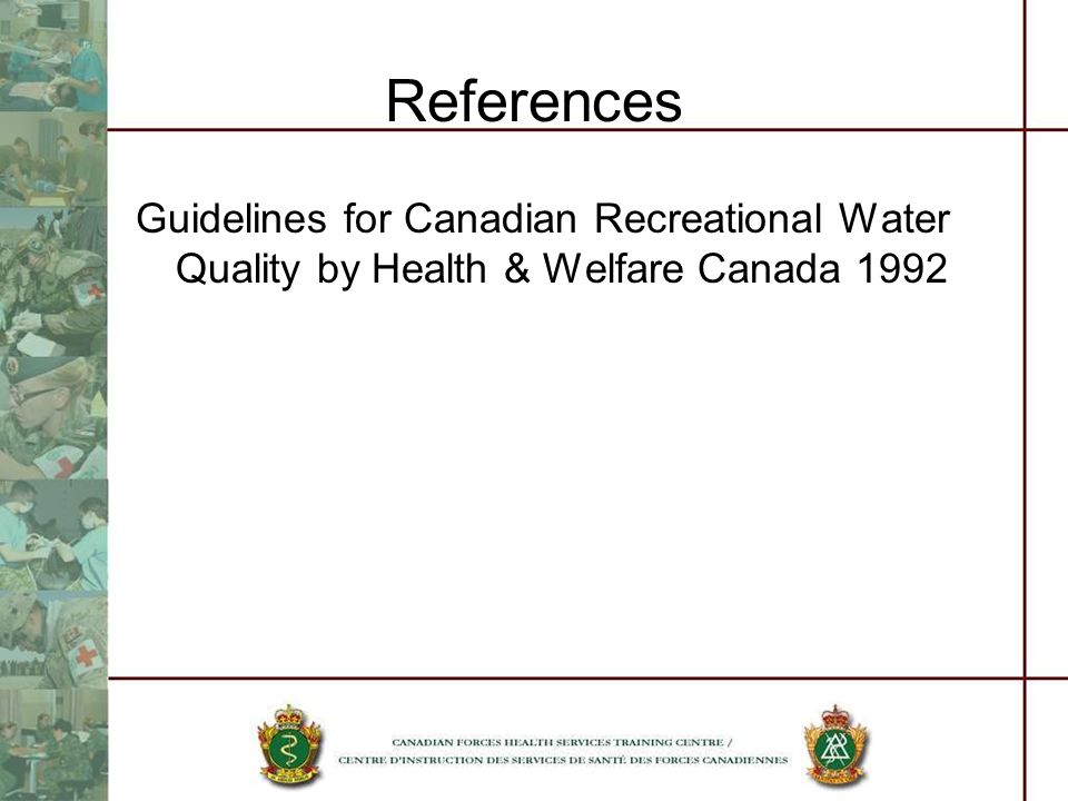 References Guidelines for Canadian Recreational Water Quality by Health & Welfare Canada 1992