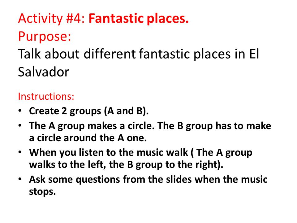 Activity #4: Fantastic places.