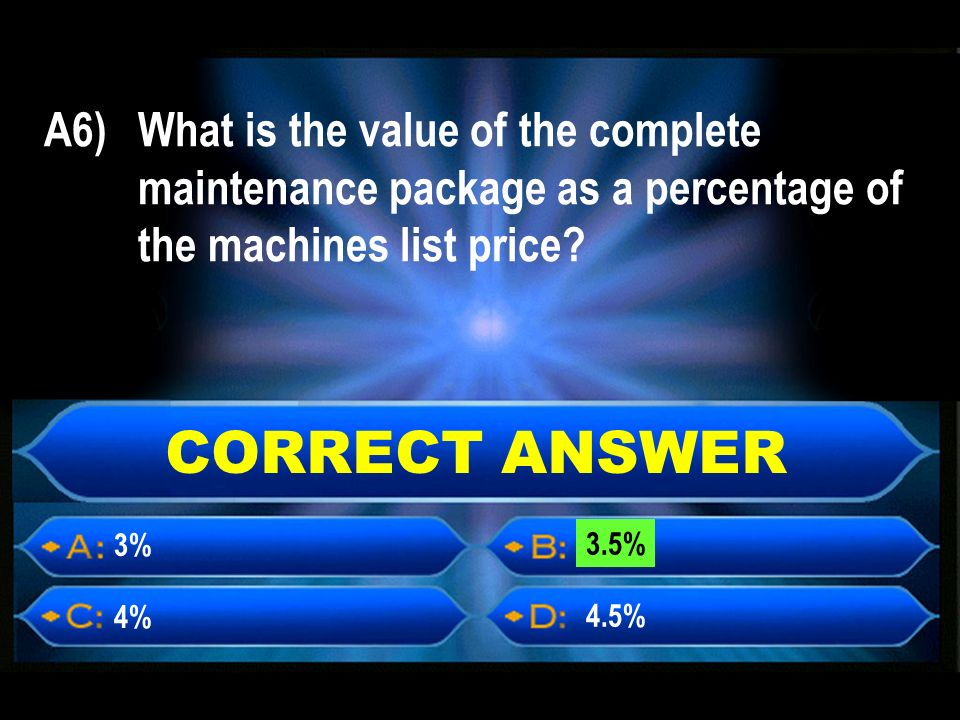 A6) What is the value of the complete maintenance package as a percentage of the machines list price.