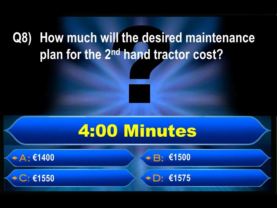 4:00 Minutes Q8) How much will the desired maintenance plan for the 2 nd hand tractor cost