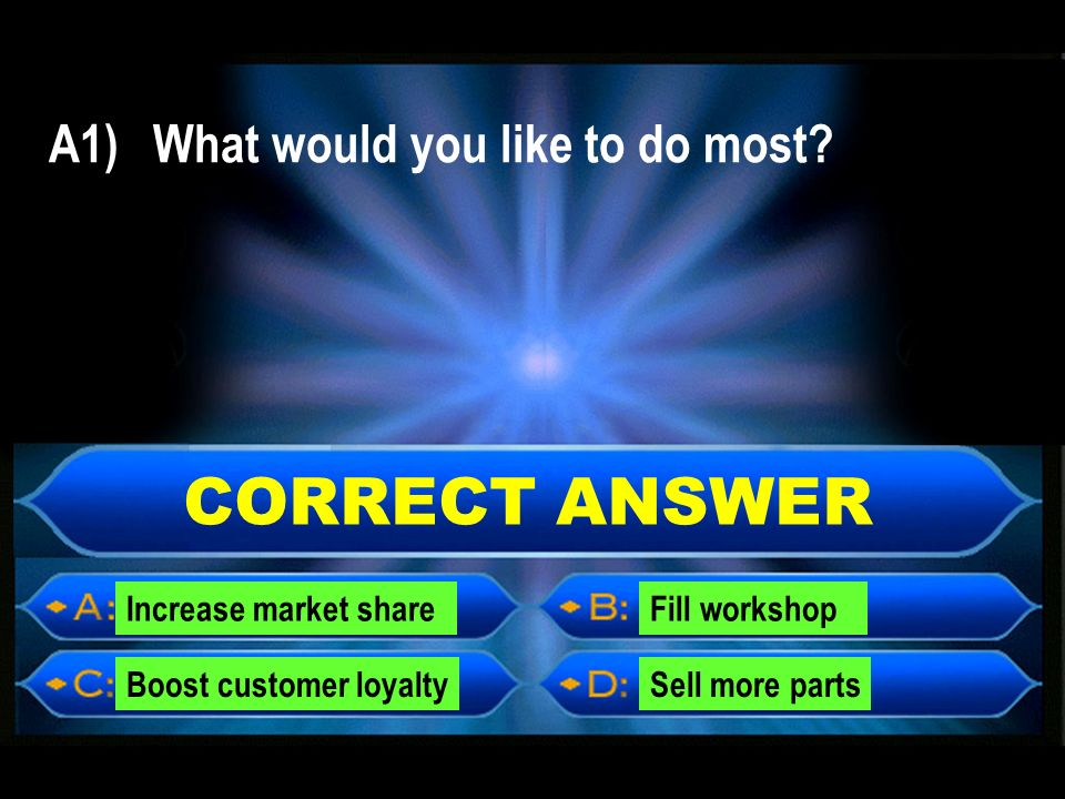 CORRECT ANSWER A1) What would you like to do most.