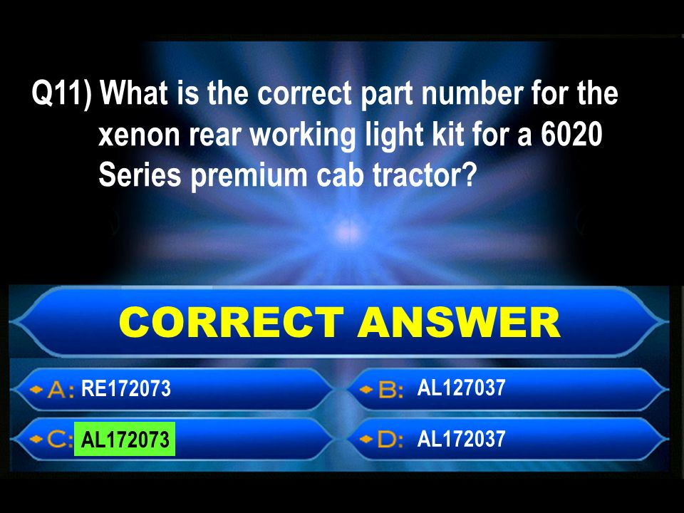 CORRECT ANSWER RE AL AL AL Q11) What is the correct part number for the xenon rear working light kit for a 6020 Series premium cab tractor