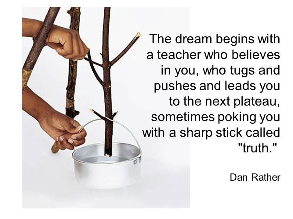The dream begins with a teacher who believes in you, who tugs and pushes and leads you to the next plateau, sometimes poking you with a sharp stick called truth. Dan Rather