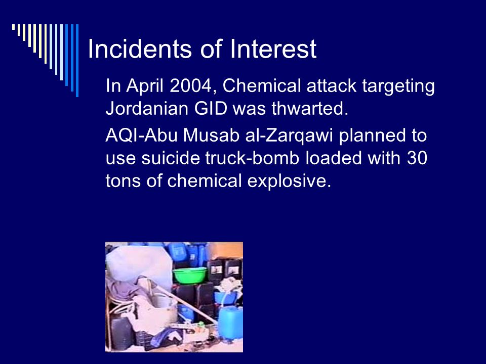 Incidents of Interest In April 2004, Chemical attack targeting Jordanian GID was thwarted.