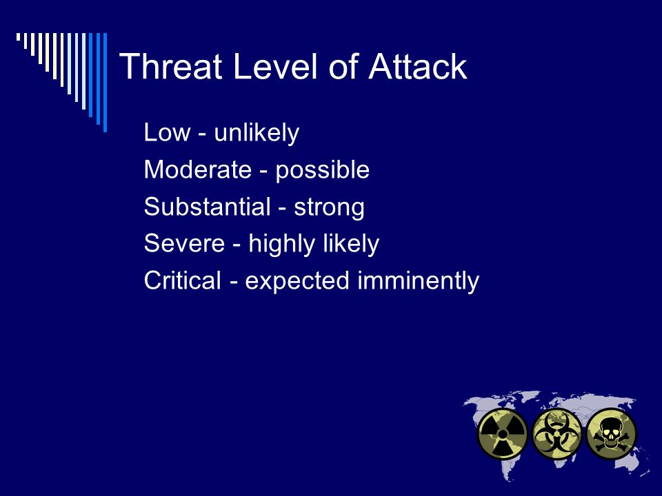 Threat Level of Attack Low - unlikely Moderate - possible Substantial - strong Severe - highly likely Critical - expected imminently