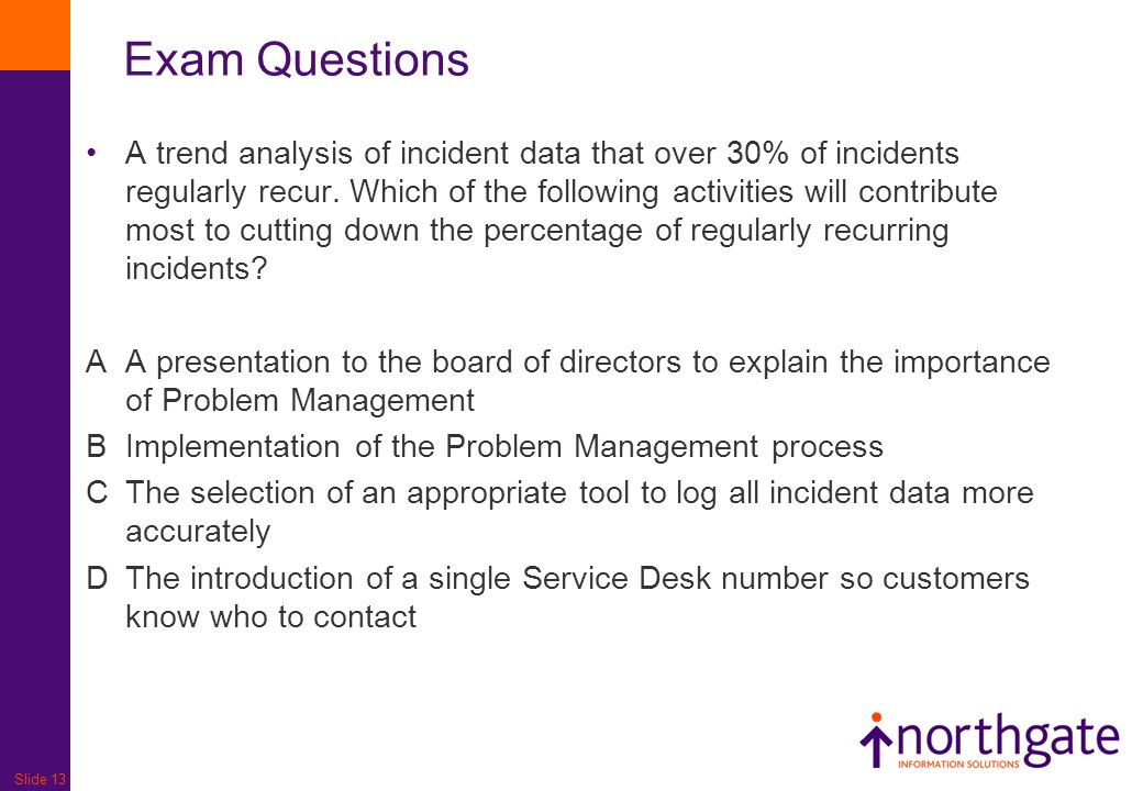 Slide 13 A trend analysis of incident data that over 30% of incidents regularly recur.