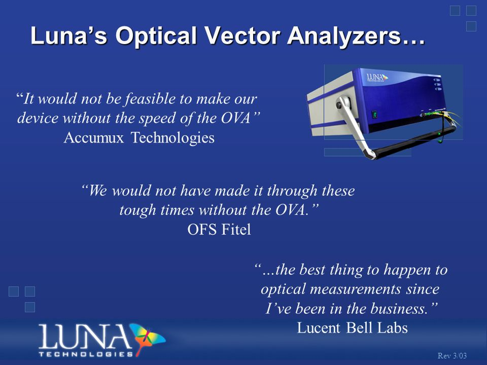 Rev 3/03 Lunas Optical Vector Analyzers… We would not have made it through these tough times without the OVA.