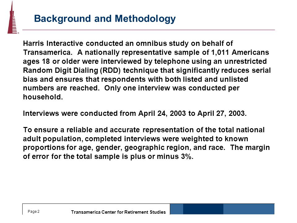 Transamerica Center for Retirement Studies Page 2 Background and Methodology Harris Interactive conducted an omnibus study on behalf of Transamerica.