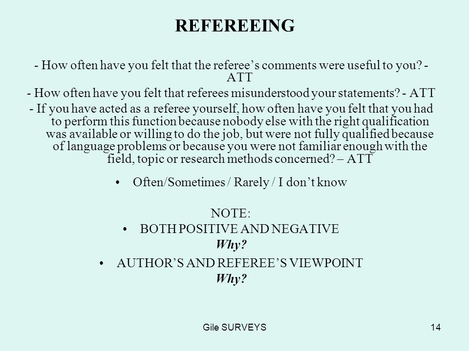 Gile SURVEYS14 REFEREEING - How often have you felt that the referees comments were useful to you.