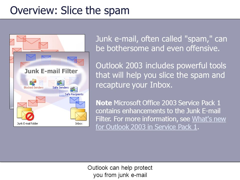 Outlook can help protect you from junk e-mail Junk e-mail, often called spam, can be bothersome and even offensive.