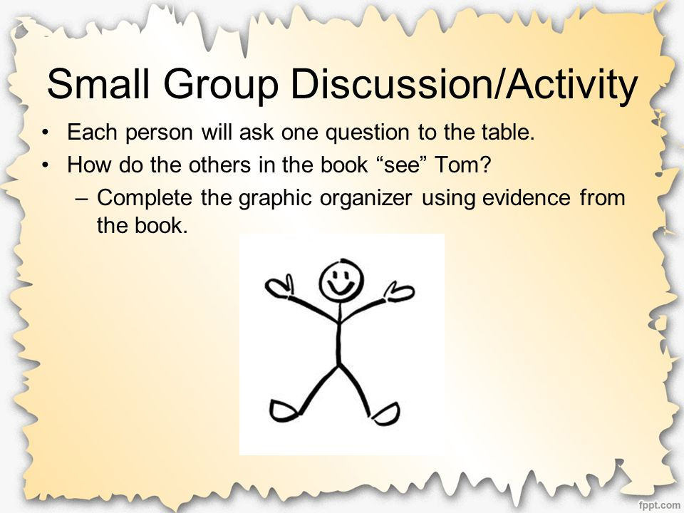 Small Group Discussion/Activity Each person will ask one question to the table.